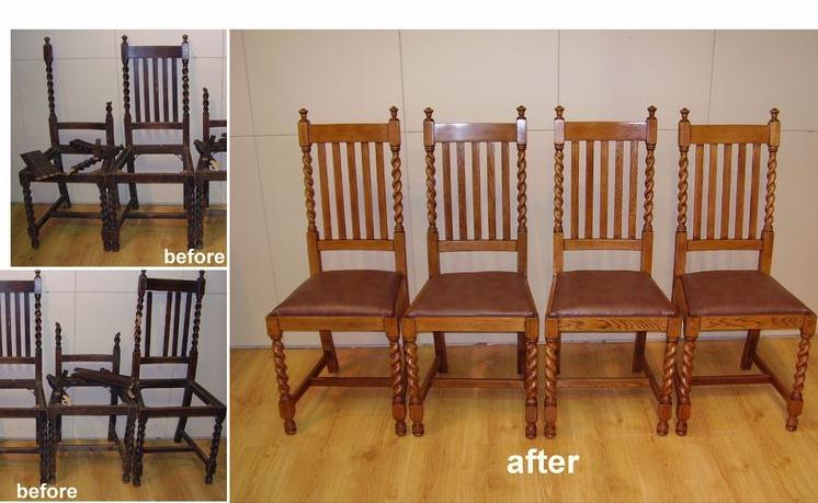 Extensive Repair Work To Broken Jacobean Turned Chair Posts and Legs c1920