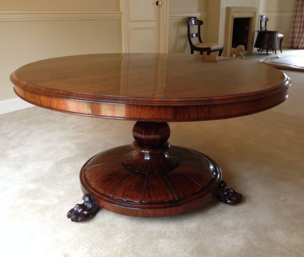 Rosewood Table With Faceted Bulbous Column c1840