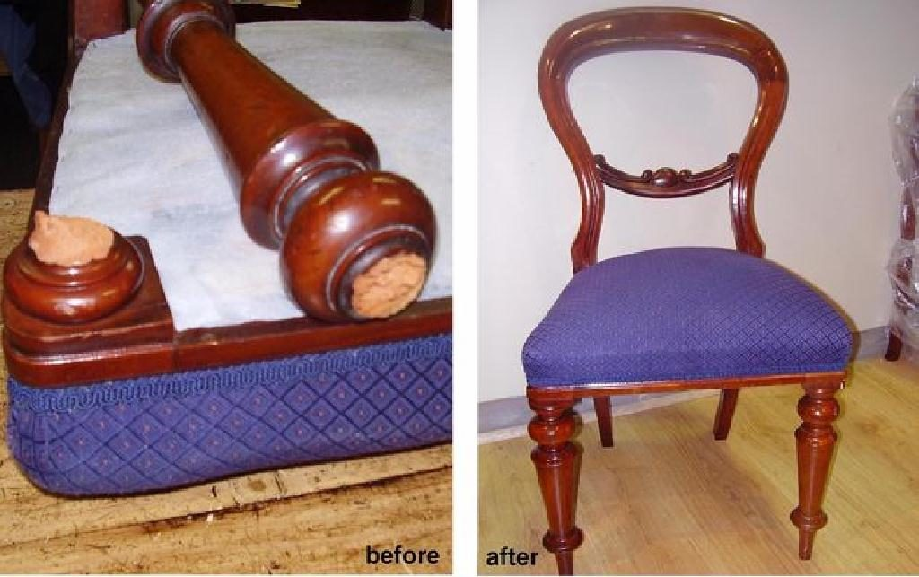 Repair broken leg of Victorian Dining Chair c1860