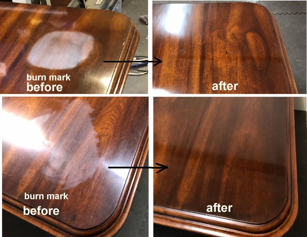 Repair heat damage to top of Victorian mahogany table top c1860