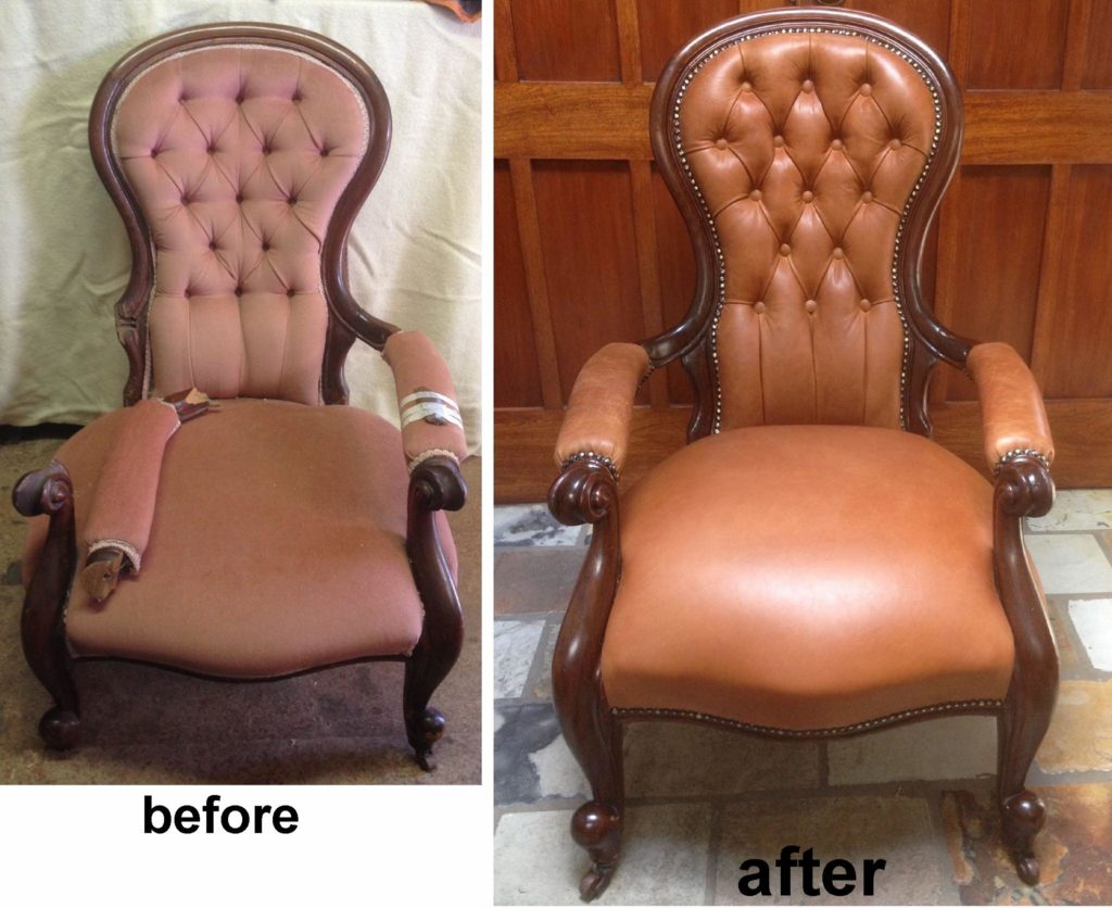 Restoration and Upholstery of Victorian Grandfather Chair c1850