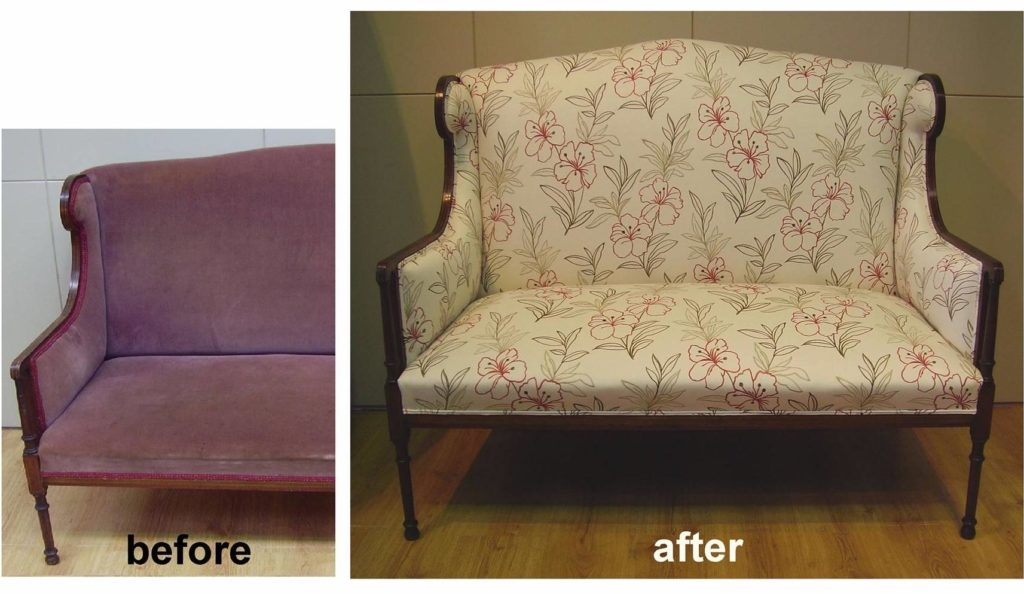 Restoration and Upholstery of Sheraton sofa c1910