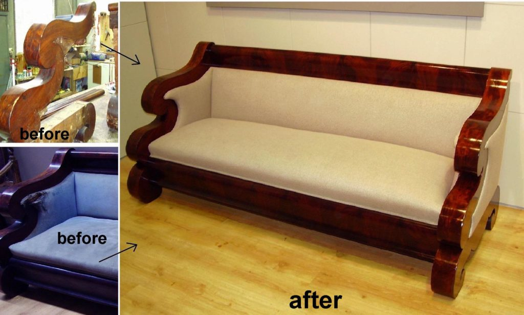 Full Restoration and Reupholstery of German Biedermeier Sofa c1830