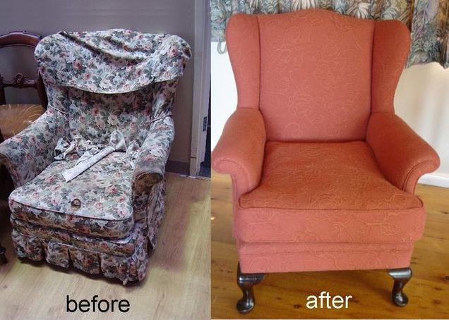 Upholstery of Antique Wing Chair
