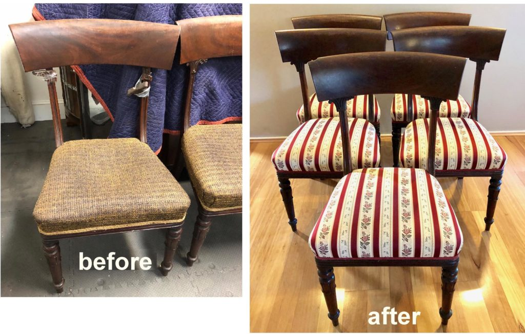 Restoration and upholstery of Mid-Victorian Dining Chairs c1860