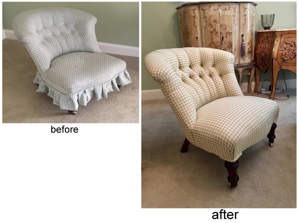 Reupholster and recover mid-Victorian Nursing Chair c1860