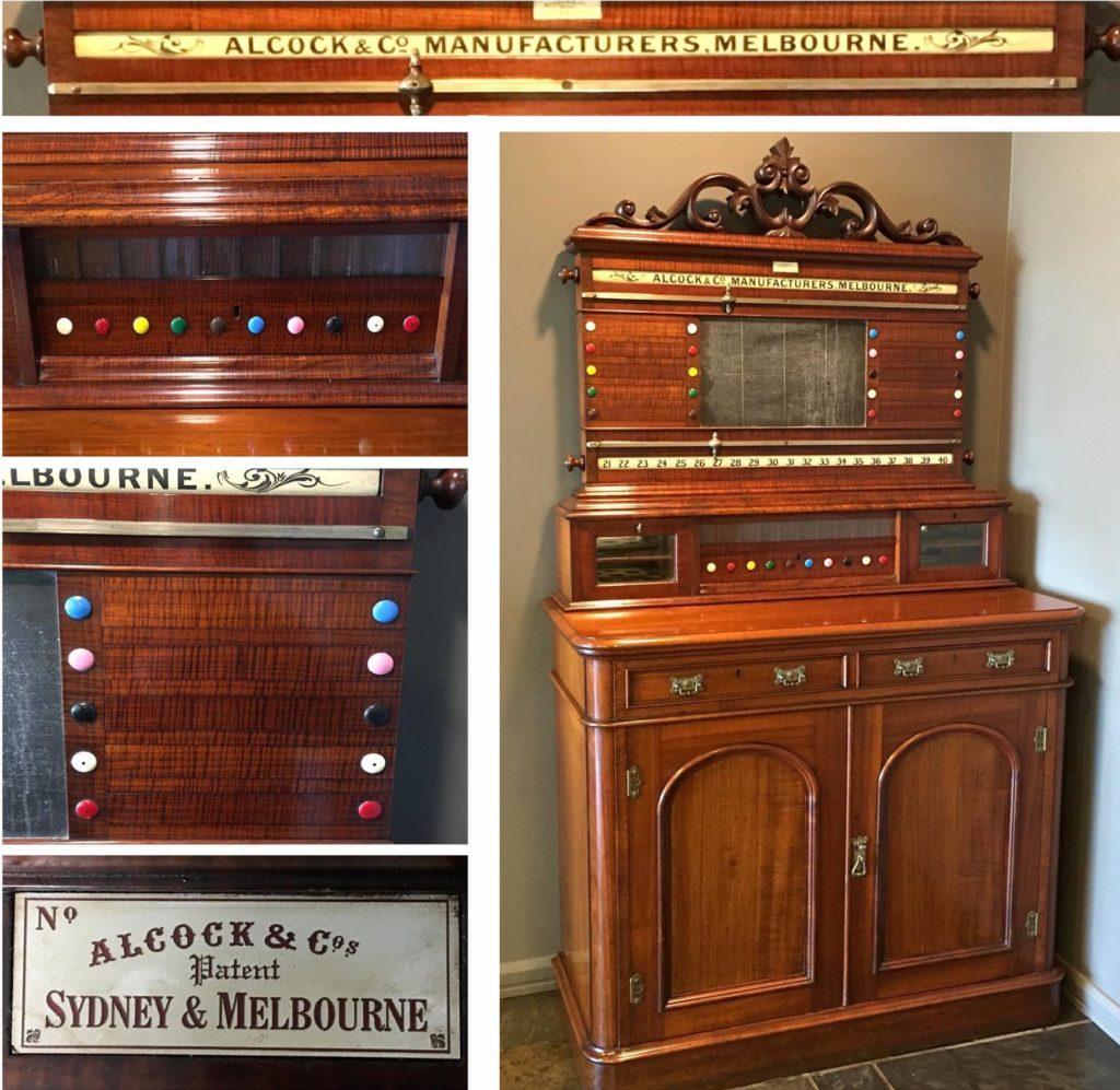 Conservation restoration late-Victorian Tasmanian blackwood billiards scoring cabinet