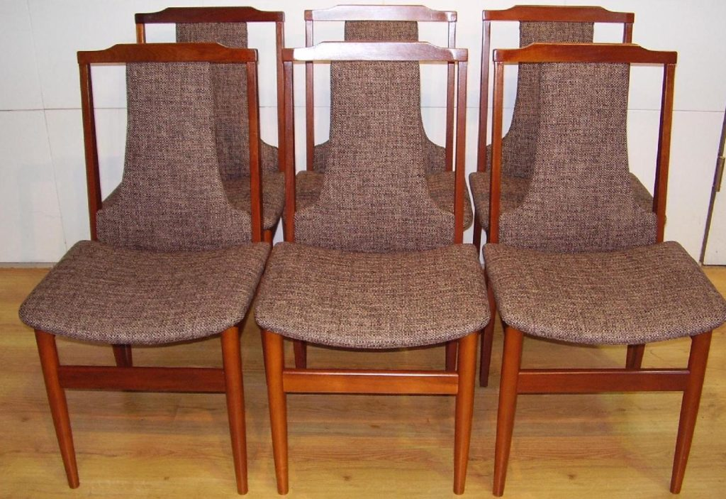 Reupholster and recover 6 x 1970s dining chairs.