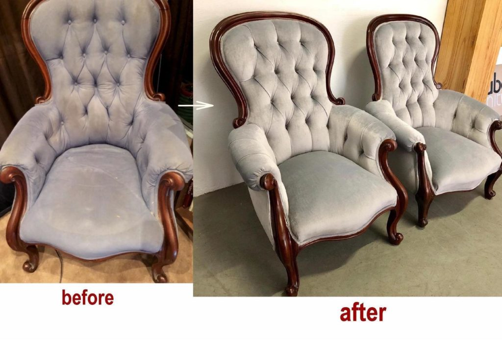 Restoration, Upholstery & Recover Two Grandfather Chairs c1860