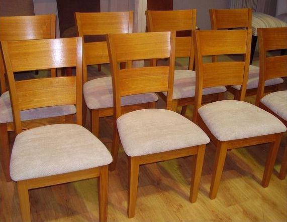 Reupholster and recover 8 x dining chair seats.