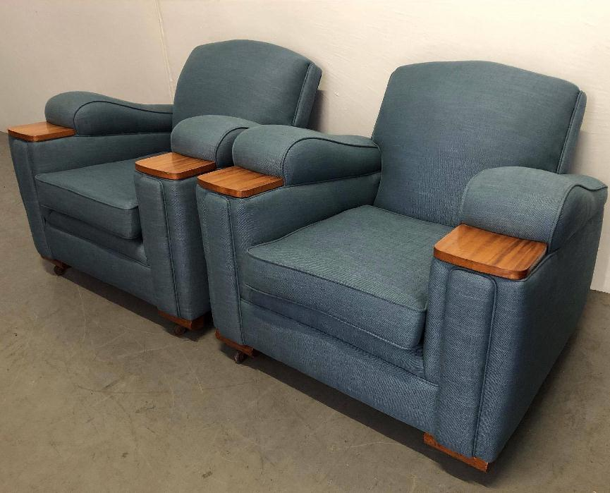 Recover Vintage Art Deco Club Chairs c1930s