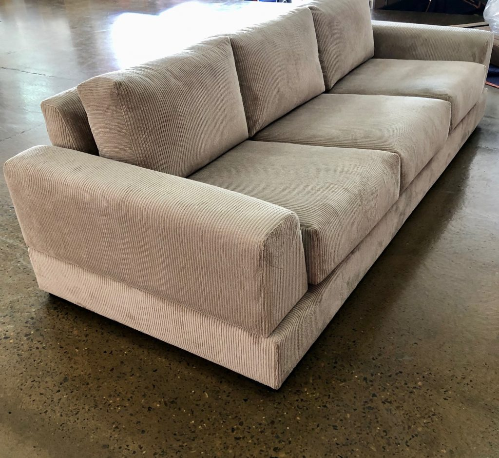 Recover sofa is Leisure Sandshell from Warwick Fabrics