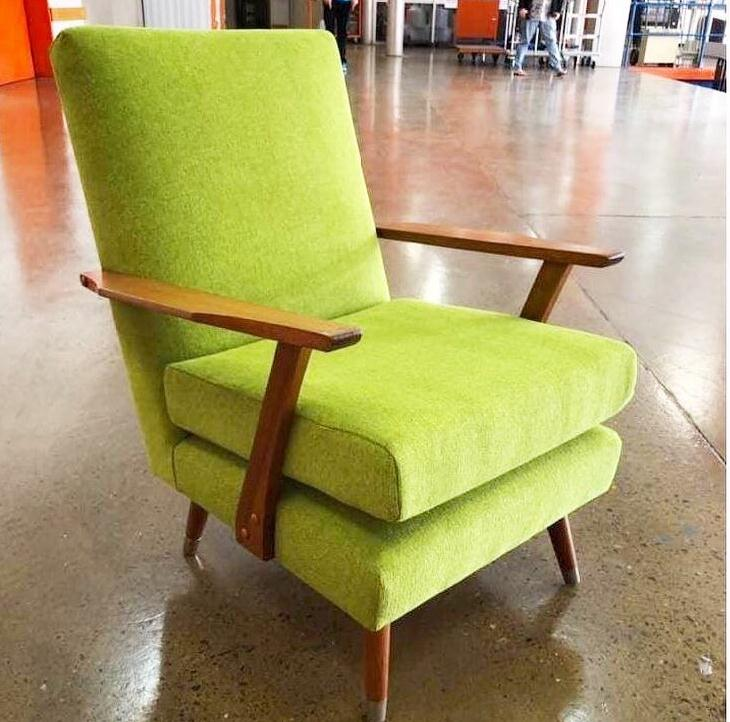 Restoration and reupholstery mid-century armchair.