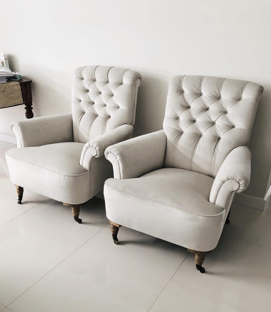 Reupholster and recover two Victorian armchairs... see more